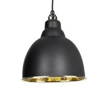 From The Anvil Brindley Pendant Light Hammered Brass & Black