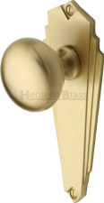 Heritage Broadway BR1810 Art Deco Door Knobs Lever Latch Satin Brass