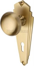 Heritage Broadway BR1800 Art Deco Door Knobs Lever Lock Satin Brass