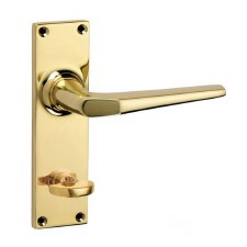 Croft Brockton 250B Bathroom Door Handles Polished Brass Unlacquered