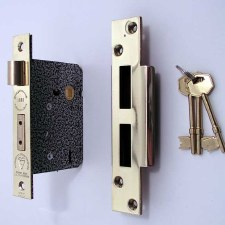Broughtons 5 Lever BS Mortice Door Lock 76mm Polished Brass