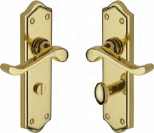Heritage Buckingham Bathroom Door Handles W4220 Polished Brass Lacq