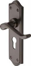 Heritage Buckingham Euro Lock Door Handles W4248 Matt Bronze