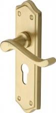 Heritage Buckingham Euro Lock Door Handles W4248 Satin Brass Lacquered