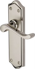 Heritage Buckingham Latch Door Handles W4210 Satin & Pol Nickel