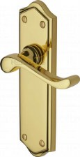Heritage Buckingham Latch Door Handles W4210 Polished Brass Lacquered