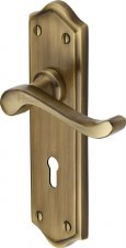 Heritage Buckingham Door Lock Handles W4200 Antique Brass Lacquered