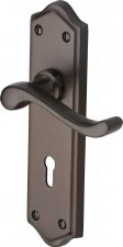 Heritage Buckingham Door Lock Handles W4200 Matt Bronze