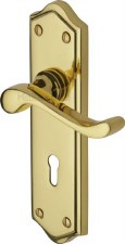 Heritage Buckingham Door Lock Handles W4200 Polished Brass Lacquered