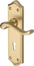 Heritage Buckingham Door Lock Handles W4200 Satin Brass Lacquered