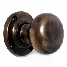 Bun Door Knobs Hand Aged Brass