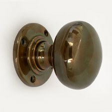 Aston Bun Door Knobs Polished Solid Bronze Antiqued 57mm