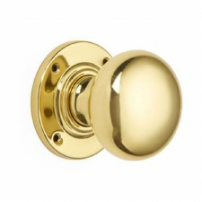 Croft Bun Shaped Mortice Knobs Polished Brass