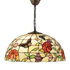 Interiors 1900 Butterfly Large Tiffany Ceiling Light Pendant