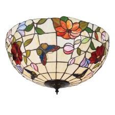 Interiors 1900 Butterfly Tiffany Large Flush Light 70715