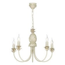 David Hunt CAB0512 Cabana 5 Light Pendant Cream & Gold