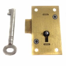 "Straight Cupboard Lock 2.5"" Brass"