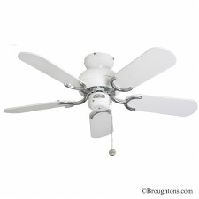 "Fantasia Capri 36"" Ceiling Fan White & Stainless Steel"