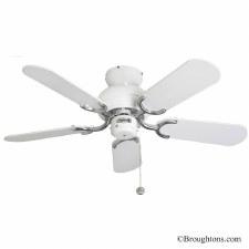 """Fantasia Capri 36"""" Ceiling Fan White & Stainless Steel"""