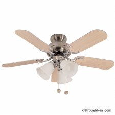 "Fantasia Capri 36"" Ceiling Fan with Lights Stainless Steel & Oak"