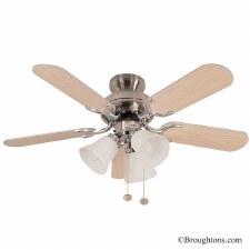 """Fantasia Capri 36"""" Ceiling Fan with Lights Stainless Steel & Oak"""