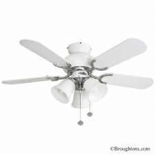 "Fantasia Capri 36"" Ceiling Fan with Lights White/SS"