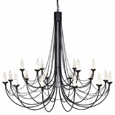 Elstead Carisbrooke 18 Light Chandelier Black/Gold