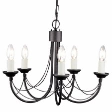 Elstead Carisbrooke 5 Arm Chandelier Black