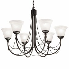 Elstead Carisbrooke 6 Light Chandelier Black