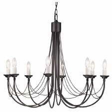 Elstead Carisbrooke 8 Light Chandelier Black