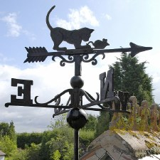 Cat & Mouse Cast Iron Weather Vane Small Black
