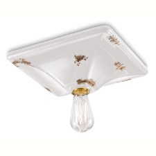 Italian Ceramic Ceiling Light C136 Vintage Bianco