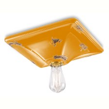 Italian Ceramic Ceiling Light C136 Vintage Giallo