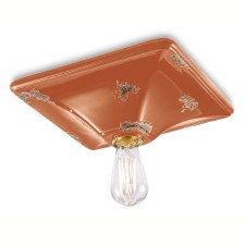 Italian Ceramic Ceiling Light C136 Vintage Arancio