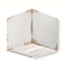 Italian Ceramic Flush Wall Light C1419 Vintage Bianco