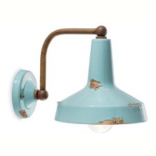 Italian Ceramic Wall Bracket Light C1420 Vintage Azzurro