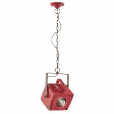 Italian Ceramic Pendant Ceiling Light C1652 Vintage Rosso