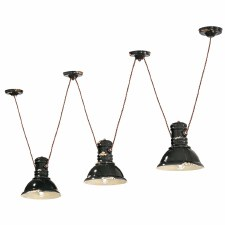 Italian Ceramic Pendant Ceiling 3 Light C1692 Vintage Nero