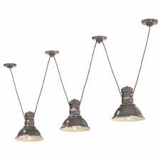 Italian Ceramic Pendant Ceiling 3 Light C1692 Vintage Tortora