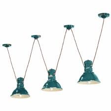 Italian Ceramic Pendant Ceiling 3 Light C1692 Vintage Verde
