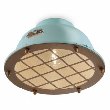 Italian Ceramic Flush Ceiling Light C1760 Vintage Azzurro