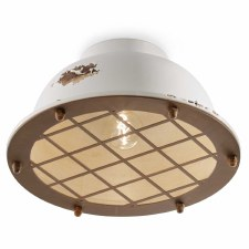 Italian Ceramic Flush Ceiling Light C1760 Vintage Bianco
