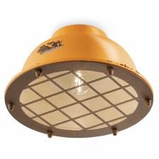 Italian Ceramic Flush Ceiling Light C1760 Vintage Giallo