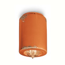 Italian Ceramic Ceiling Light C985 Vintage Arancio