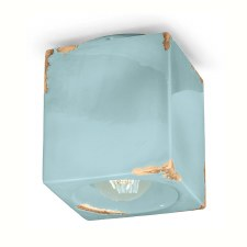 Italian Ceramic Square Ceiling Light C987 Vintage Azzurro