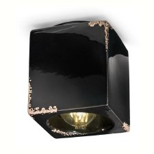 Italian Ceramic Square Ceiling Light C987 Vintage Nero