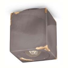 Italian Ceramic Square Ceiling Light C987 Vintage Tortora