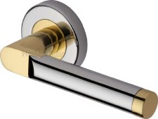 Heritage Celia Round Rose Door Handles V7450 Pol Chrome & Pol Brass