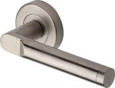 Heritage Celia Round Rose Door Handles V7450 Satin Nickel