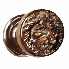Croft Lions Head Centre Door Knob Real Bronze Metal Antique